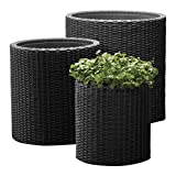 Keter  Kunststoff Pflanztopf, Zylinderförmiges Pflanzgefäß aus Kunststoff,...