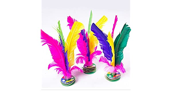 efbock Colorful Feather Chinese Jianzi Kicking Shuttlecock Foot Exercise Outdoor Game 2pcs
