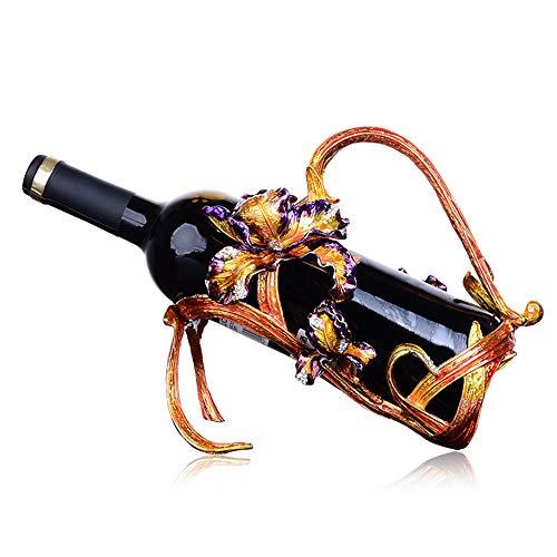 ZWNSWD Luxuriös Iris Weinregal Eisen Handgemalte Glasur Weinflaschenständer Weinkühler Kunsthandwerk Dekoration (Keine Flasche),B