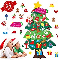 Árbol de Navidad de Fieltro, Árbol Navidad Fieltro Pared con 34 Ornamentos Desmontables El árbol de Navidad de 3.7ft para Regalos navideños, Decoración de Navidad para Paredes y Puertas del hogar