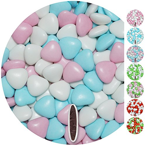 EinsSein® Schokoherzen MIX 1,5kg ca. 832 St. weiß-rosa-hellblau glanz Gastgeschenke Hochzeit schokolade schokolinsen dragees Süssigkeiten Taufe herz candy bar Candybar Hochzeitsmandeln Taufmandeln herzdragees