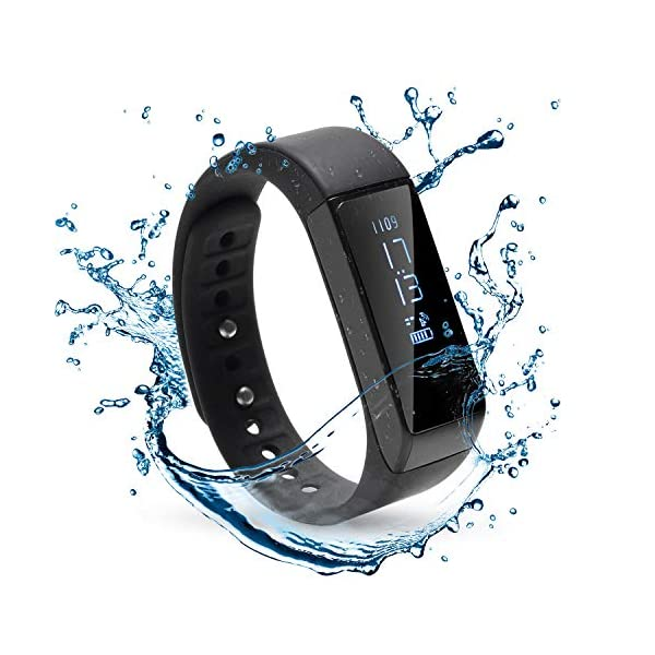 WADEO Fitness Tracker, Pulsera de Actividad Smart Bluetooth Pulsera podómetro Smart Bracelet Sleep Monitor, Reloj de Actividad Impermeable con Banda de reemplazo para Android y iOS (Negro-2) 1