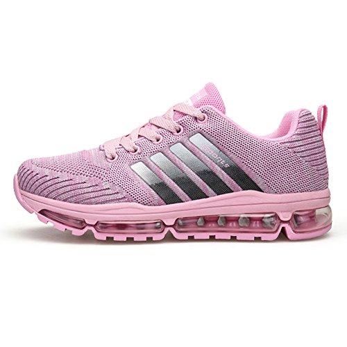 Fexkean Unisex Sportschuhe Laufschuhe Turnschuhe Atmungsaktiv Sneakers Air Sport Casual Shoes Herren Damen (8068Pink39)