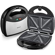 Aicok Tostiera, Waffles piastra, Sandwich maker (3 in 1), Piastre Antiaderenti / Tostiera Removibilii/ Termostato Regolabile/ Potenza 750w/ Colore Argento