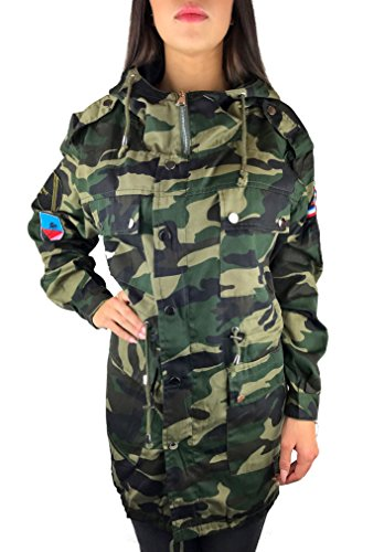Worldclassca DAMEN CAMOUFLAGE PARKA JACKE STICKEREI MILITÄR GRÜN ÜBERGANGSJACKE TRENCHCOAT PATCHES MANTEL RETRO BLOUSON ARMY TARN PARKA BLOGGER FASHION LANG S-XL NEU (S/M, Camouflage-21)