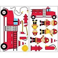 17-teiliges Feuerwehr Wandtattoo Set Feuerwehrauto Wandsticker in 4 Größen (2x16x26cm mehrfarbig)