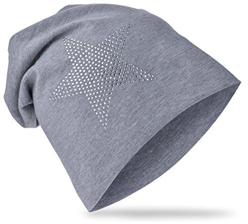 StrassStern Baby Kinder Jersey Slouch Beanie Long Mütze mit Strass Stern Unisex Baumwolle Trend StrassStern-Grau-43 (Baby Beanie Grau)