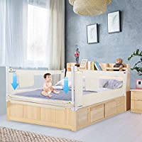 GREENSEN Baby Bed Rail, Portable Folding Bed Guard Kids Child Toddlers Safety Side Rail with Lockable Buckle for Travel and Home Use, Height Adjustable to Fit Your Mattress, Beige 150cm