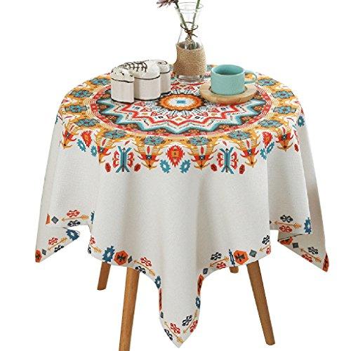 Nappe géométrique de motif de fleur approprié pour la nappe blanche carrée de table ronde (Size : 85 * 85cm)
