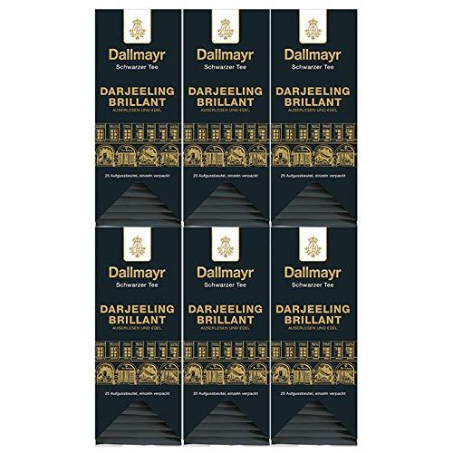 Dallmayr Tee Aufgussbeutel - Darjeeling Brilliant, 25 Beutel, 6er Pack (6 x 50 g)