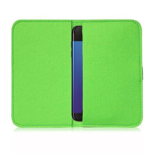 Filz Hülle Smartphone Tasche Cover Case Handy Flip Filztasche Kartenfach Etui, Farbe:Hell Grau;Für Handy Modell:Apple iPhone 6 Plus - 6s Plus Grün