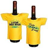 Mini T-Shirt Set A star was born 1957 und Bester Papa für immer Flaschenüberzieher Geschenk für das Geburtstagskind zum 61. Geburtstag