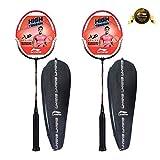 Li-Ning XP-60-IV Blend Badminton Racquet, Set of 2 with Free Full Cover (Black/Pink)