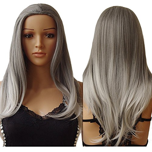 ch Long Straight 3/4 Full Head Wigs Clip In Hairpieces Cosplay Costume Party Daily Fancy Dress Kanekalon Synthetic Grey White Mix by S-noilite (Einzigartige Gruppe Halloween-kostüme)