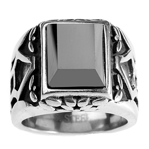 CARTER PAUL Herren Edelstahl Retro schwarze Inlay CZ Ring, Größe 62 - Inlay Black Ring Onyx