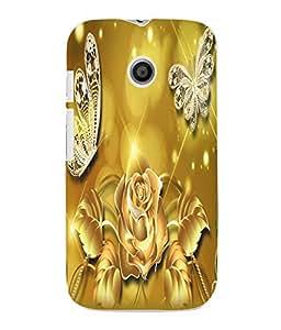 Fuson 3D Printed Flower and Butterfly Designer Back Case Cover for Motorola Moto E - D924