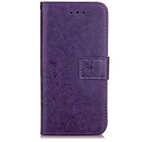 iPhone Case Cover Prägeartiger Blumen-glücklicher Klee-Muster PU-lederner Mappen-Kasten mit Karte Bargeld-Schlitz-Folio-Kasten-Standplatz-Abdeckung für IPhone 7 Plus ( Color : Gray , Size : IPhone 7 P Purple