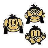 Aufnäher / Bügelbild - Set drei Affen - braun - ca. 3,5x3,5cm - Patch...