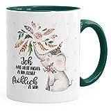 MoonWorks Kaffee-Tasse Elefant Ich Habe Heute Nichts zu Tun Außer Fröhlich zu Sein Spruch-Tasse Geschenk-Tasse Innenfarbe Grün Unisize