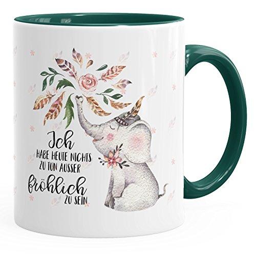 Kaffee-Tasse Elefant Ich habe heute nichts zu tun außer fröhlich zu sein Spruch-Tasse Geschenk-Tasse MoonWorks® Innenfarbe grün unisize