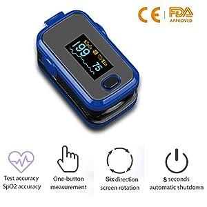 LUNASEA Fingertip Pulsoximeter SpO2 Blut Sauerstoff Monitor mit OLED-Display Automatische Abschaltung für kinder und erwachsene