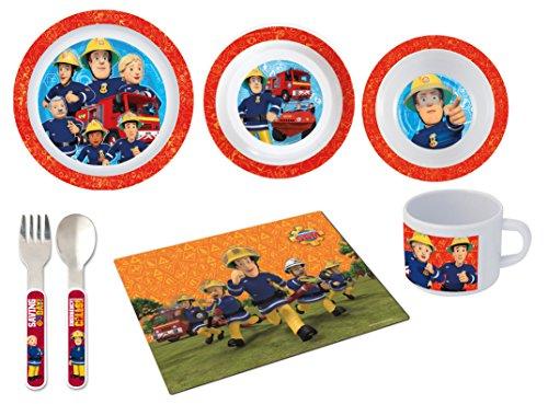 Feuerwehrmann Sam 7 teiliges Melamin Küchenset für Kinder, Teller, Müslischale, Suppenteller, Besteckset, Kinderbecher und Platzset als preiswertes Tisch-Set