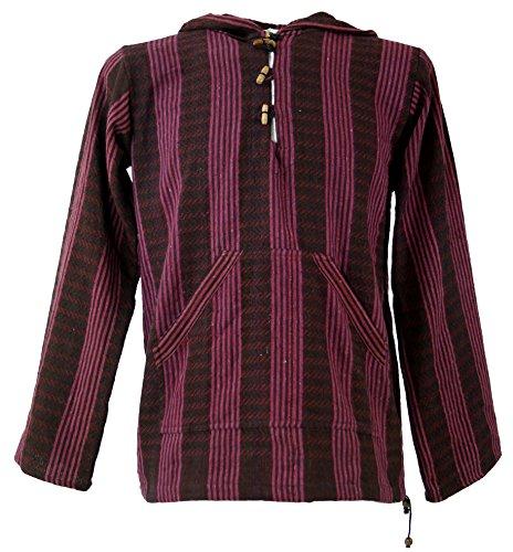 Guru-Shop Goa Kapuzenshirt, Baja Hoody, Herren, Wine, Baumwolle, Size:S, Sweatshirts & Hoodies Alternative Bekleidung - Baja Pullover Hoodies
