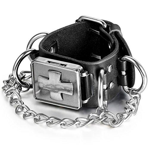 JewelryWe Herren Armbanduhr, Leder Legierung, Retro Gotik Kreuz Lederarmband Armreif Analog Quarz...