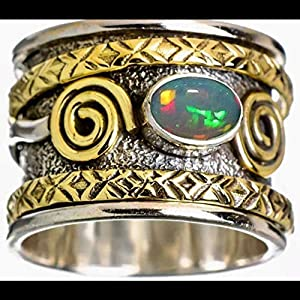 925 Sterling Silber Spinner Band Ring für Damen und Herren, Unisex Ring, Anweisung äthiopischer Opal Ring, Vintage Ring