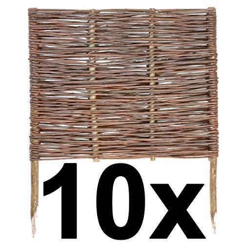 BOGATECO 10 x Weiden-Zaun Steckzaun   60 cm Lang & 60 cm Hoch   Holz-Zaun   Perfekt für den Garten als Beet-Umrandung oder Weg-Abgrenzung