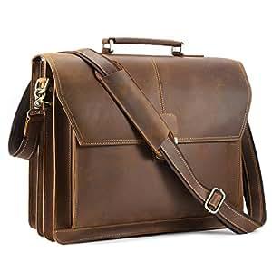 Kattee Men's Genuine Leather Push Lock Closure Briefcase Office Work Business Satchel