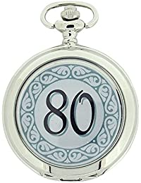 Boxx Happy 80th Birthday White Dial Gents Pocket Watch 12 Inch Chain Boxx318
