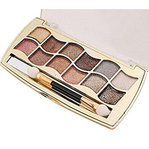 LONUPAZZ 12 Couleurs Palette Maquillage Yeux Femme Fard à Paupières Shimmer Eyeshadow Cosmétique Pinceau Blush Set (4#)
