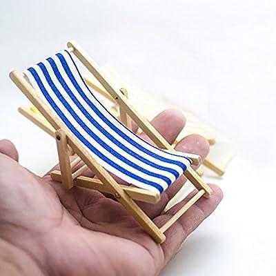 Newin Star 1/12/sedia a sdraio per casa delle bambole giardinaggio pieghevole in miniatura blu a righe spiaggia/di by Newin Star