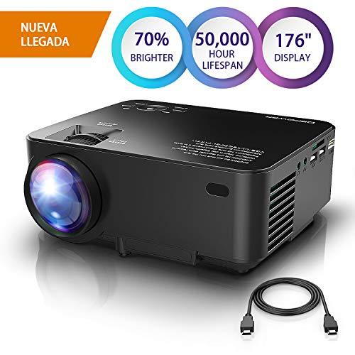 "DBPOWER Mini Beamer, 2200 Lumen HD 1080P LED Video Projektor mit 176\"" Display, 50.000 Lebensdauer, Heimkino Projektor Kompatibel mit Amazon Fire TV Stick, HDMI/VGA/AV/USB/TF, Schwarz"