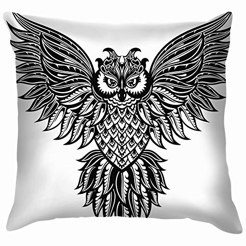Owl Tattoo Poster Print Animals Wildlife Soft Cotton Linen Cushion Cover Pillowcases Throw Pillow Decor Pillow Case Home Decor 18X18 Inch