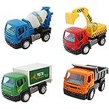 Clastik Construction Vehicle Set 4 Pcs - Dumper + JCB + Cement Mixer + Transport Truck - Unbreakable ABS Plastic Friction Powered Kids Automobile Toy Set - Assured Quality (4 In 1)