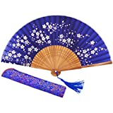 "Amajiji Charming Elegant Modern Woman Handmade Bamboo Silk 8.66"" (22cm) Folding Pocket Purse Hand Fan, Collapsible Holding Painted Fan With Silk Pouches/ Wrapping. (Blue)"