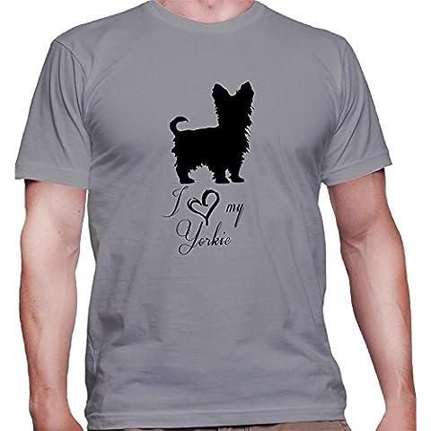T-shirt da uomo con I Love My Yorkie Dog Breed Illustration stampa.