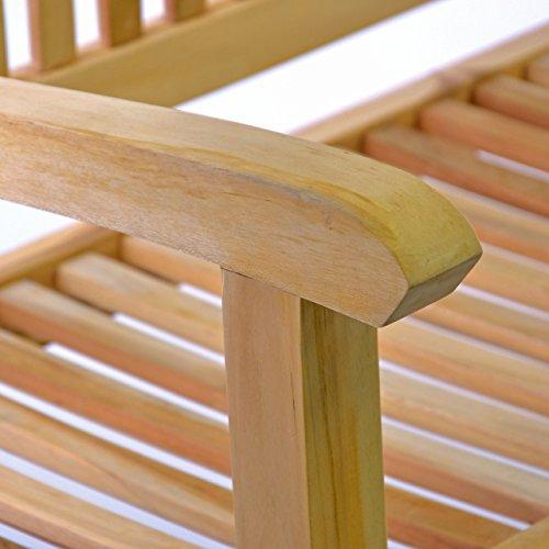 DIVERO 3-Sitzer Bank Holzbank Gartenbank Sitzbank 180 cm – zertifiziertes Teak-Holz Natur unbehandelt hochwertig massiv – reine Handarbeit – wetterfest (Teak natur) - 4