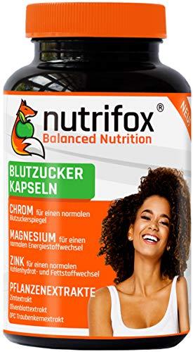 NUTRIFOX Blutzucker Kapseln mit Mineralien (Chrom, Zink, Magnesium) und pflanzlichen Extrakten (Ceylon-Zimt, OPC Traubenkernextrakt, Olivenblattextrakt) - Premium, 120 Stoffwechsel Kapseln, vegan