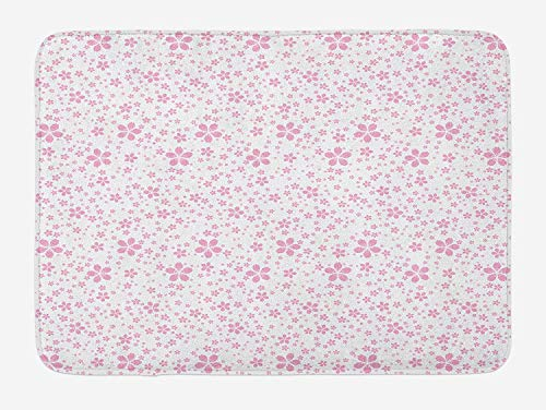 tgyew Cherry Blossom Bath Mat, Childish Cute Pink Flowers on White Background Kids Girls Simple Design, Plush Bathroom Decor Mat with Non Slip Backing, 23.6 W X 15.7 W Inches, Pale Pink White -