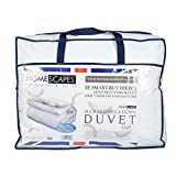 Double (200 x 200 cm) : Homescapes Double 10.5 Tog New White Duck Feather & Down Duvet - 100% Cotton Anti Dust Mite & Down Proof Cover - Anti allergen - Washable at Home Luxury Quilt