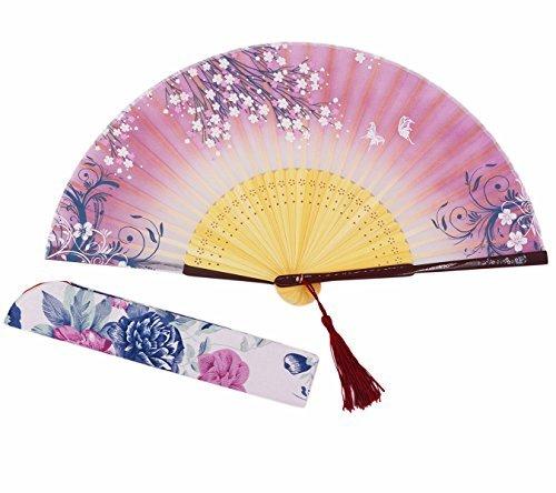 Amajiji Sommer Kühlung 21cm Bambus Holz Seide Hand Held Klapp Tasche Geldbörse Hand Fan, Seide Beutel/Quaste. Chinesische Japanische Vintage Retro-Stil Handheld Faltbar Fan B