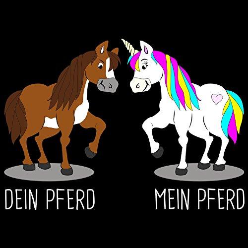 Fashionalarm Herren T-Shirt - Einhorn - Dein Pferd mein Pferd | Fun Shirt mit Spruch als Geschenk Idee für Unicorn Fans Schwarz