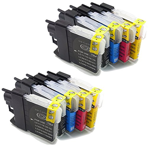 10x (4Black+2Cyan+2Meganta+2Yellow) ink cartridges replace to Brother LC985 Compatible for Brother DCP J125 J315W J515 Brother MFC J220 J265W J410 J415W