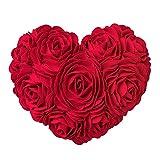 KINGROSE Faite à la Main 3D Rose Fleurs Décoratif Coeur Forme Coussin Laine Coton Toile Oreiller Cadeaux Maison Lit Salon Canapé Chaise Bureau Voiture 13 x 16 Pouces Rouge
