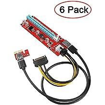 Galopar PCIe Riser VER 006C PCI-E 16x 8x 4x 1x Powered Riser Adapterkarte mit 60cm USB 3.0 Verlängerungskabel & 6-Pin PCI-E zum SATA Stromkabel GPU Riser Adapter Ethereum Mining ETH (6 PCS)