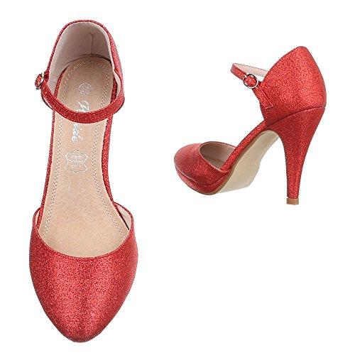 Damen Schuhe High Heels Plateau Schnalle High Heel Pumps Pfennig-/Stilettoabsatz Rot