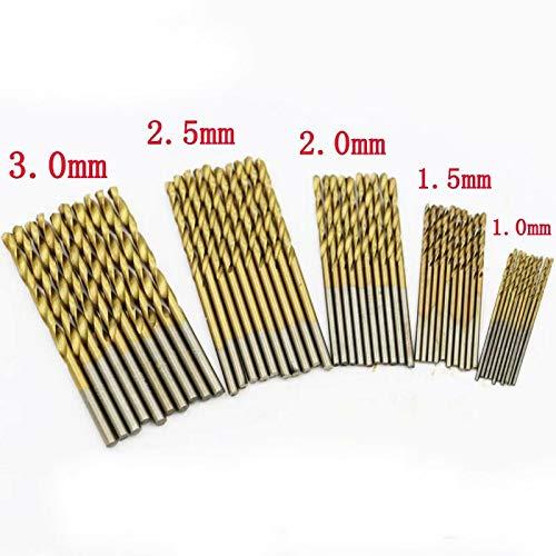 50 Spiralbohrer Set 1/1.5/2/2.5/3mm Bohrer Set Metallbohrer Handspiralbohrer Micro Bohrersets Werkzeuge Profi Drill Bit für Holz,Metall,Glas